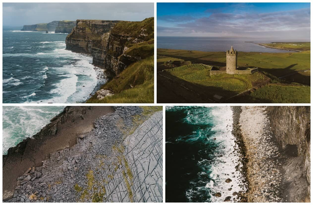 Cliffs of Moher elopement, collage of 4 photos of the coast