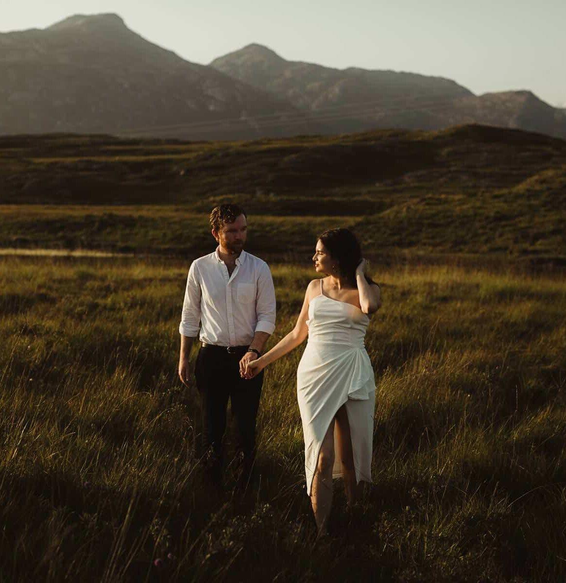 A beuatiful couple at sunset in connemara