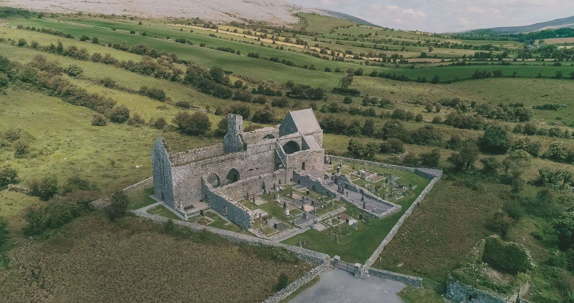 an aerial view of corcomroe abbey for your  irish castle elopement
