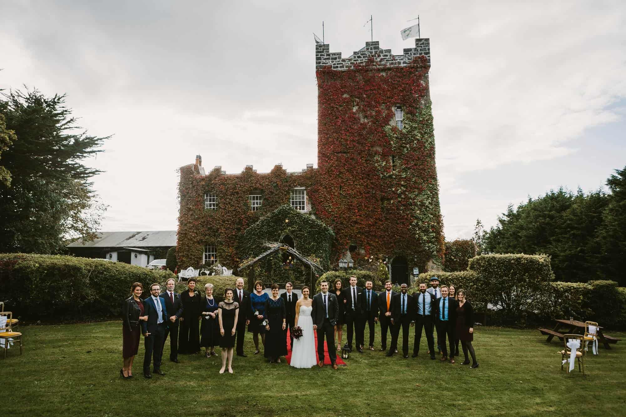 group shot of a family on their  irish castle elopement