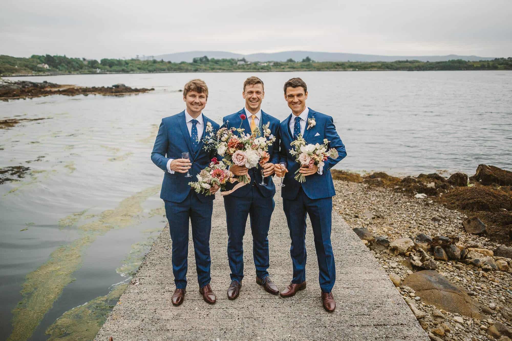 Elopement Ireland Connemara Groomsmen with flowers