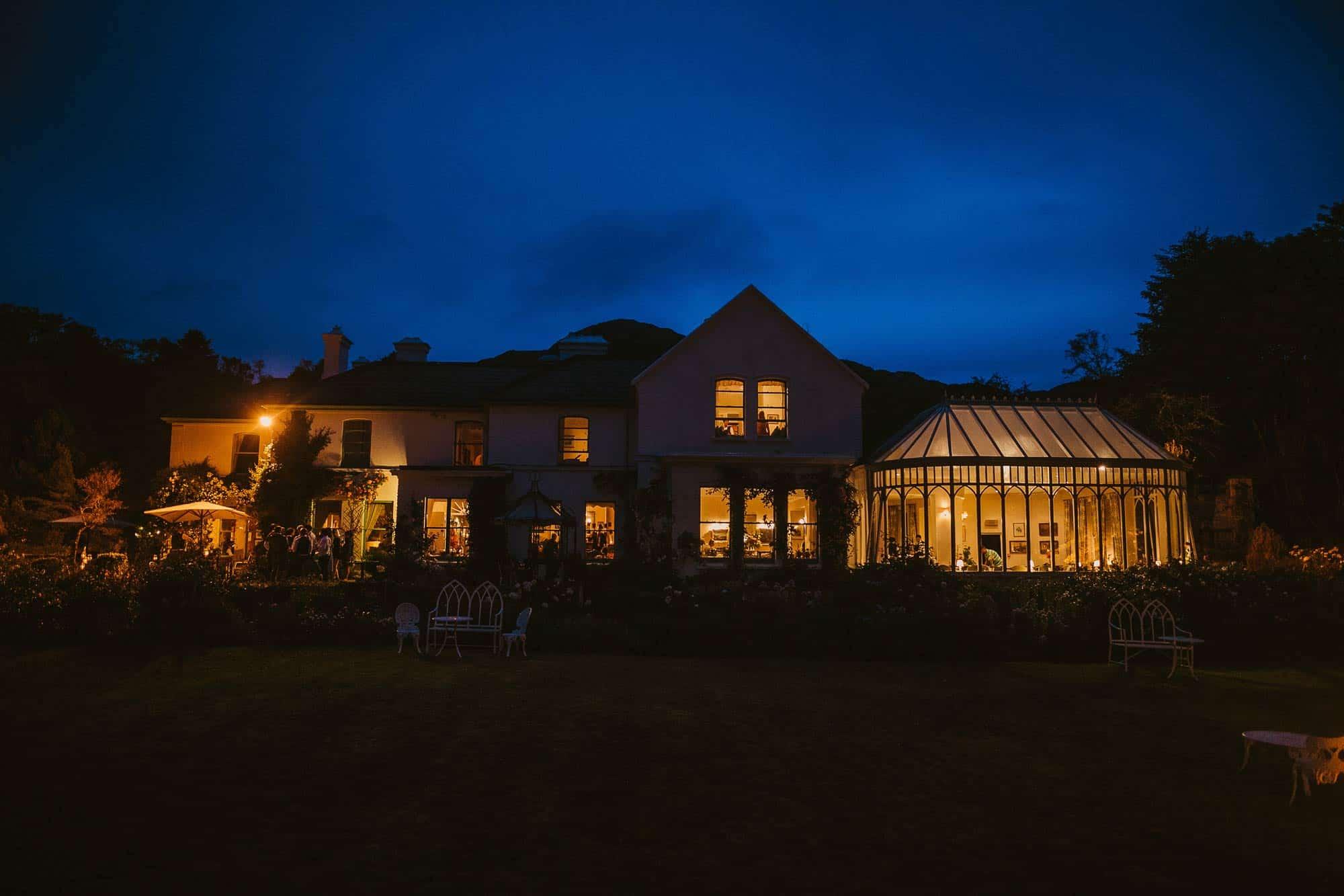 Elopement Ireland Connemara Night Shot of the manor house