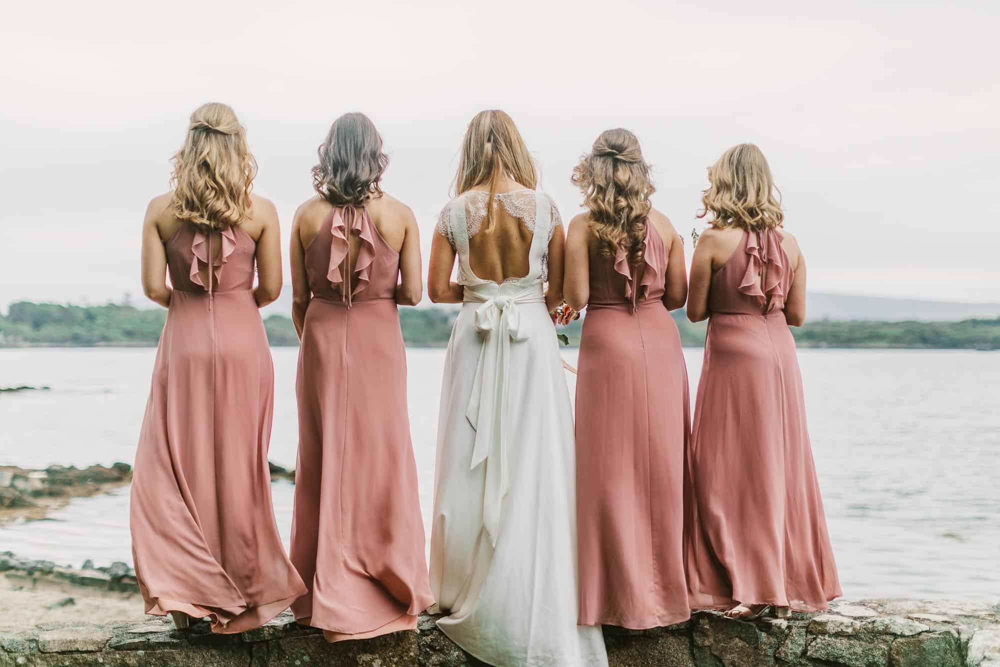 Elopement Ireland Connemara Pink Bridesmaids from behind