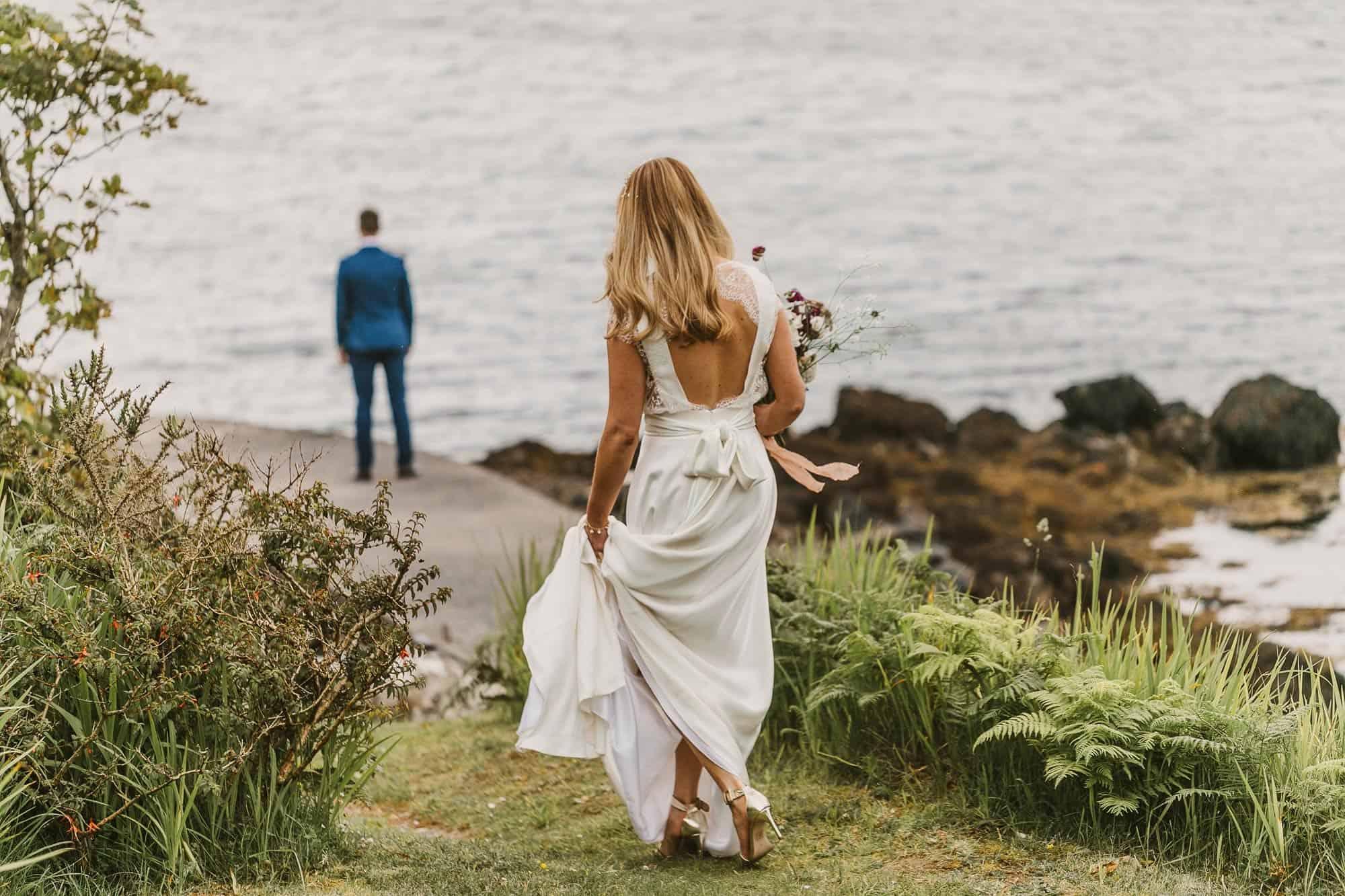 Elopement Ireland Connemara First Look Walk to groom