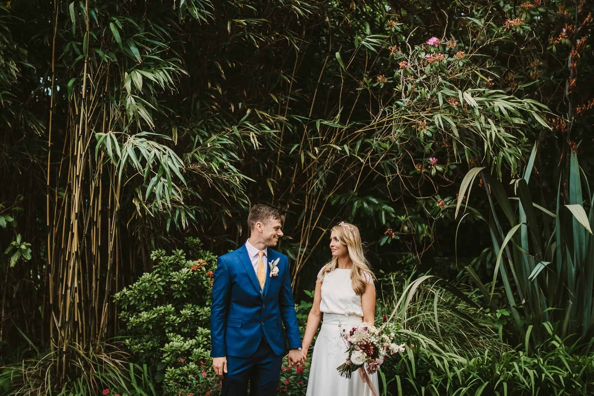 Elopement Ireland Connemara Garden Shot, couple in the trees