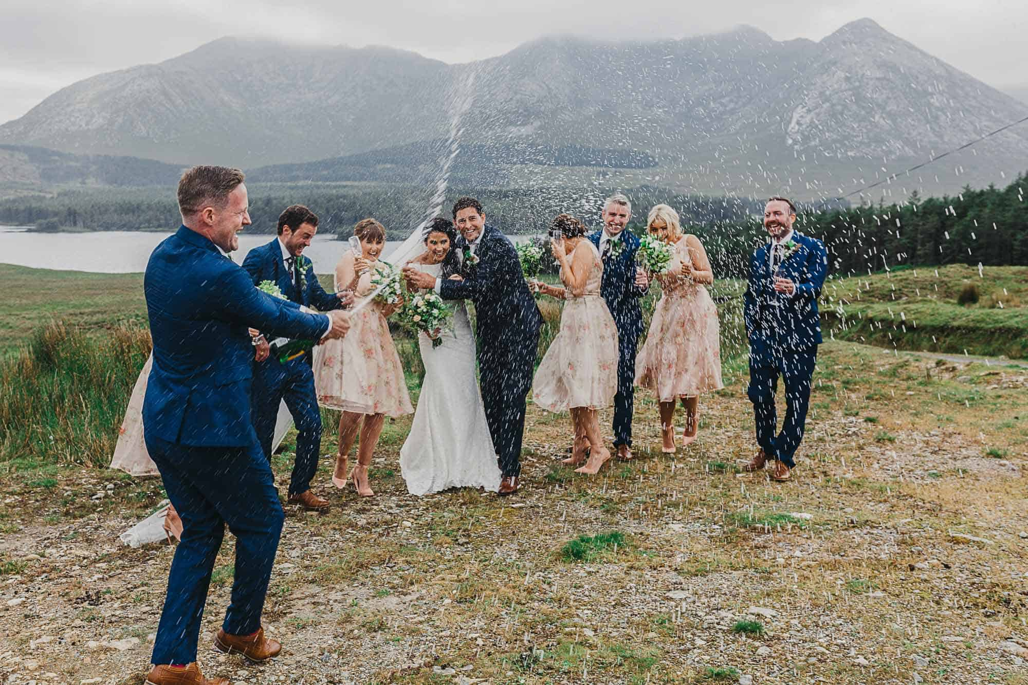 Elopement Planner Ireland Bubbles, popping champagne with the bridal party. What is eloping?