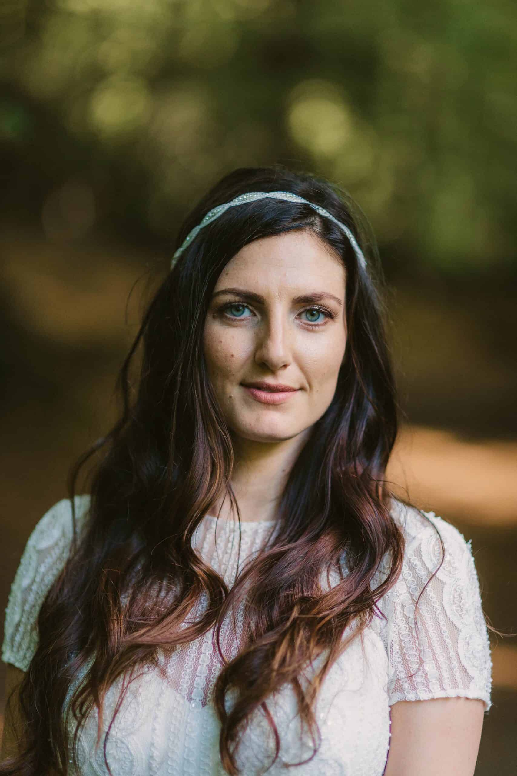 bride portrait in forest, Elopement videographer Ireland