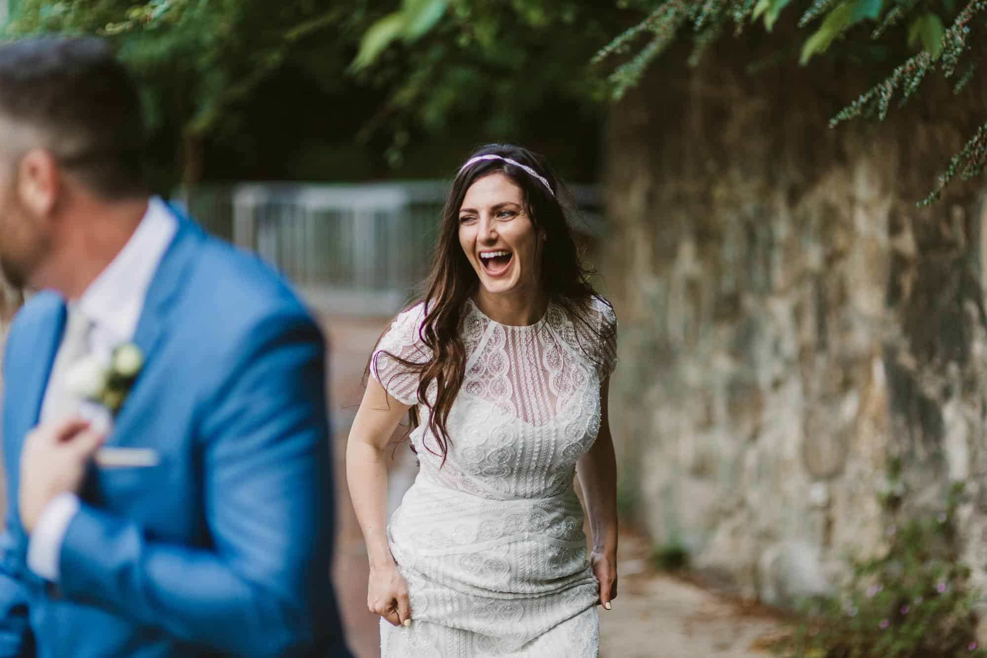 Elopement videographer Ireland, bride having a laugh