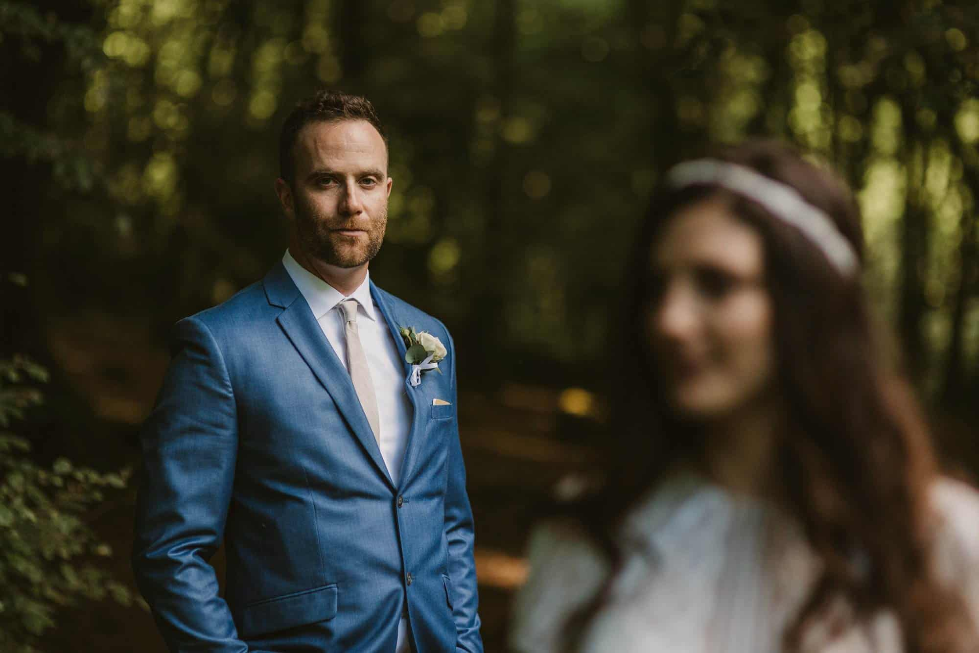 Elopement videographer Ireland, groom shot in forest