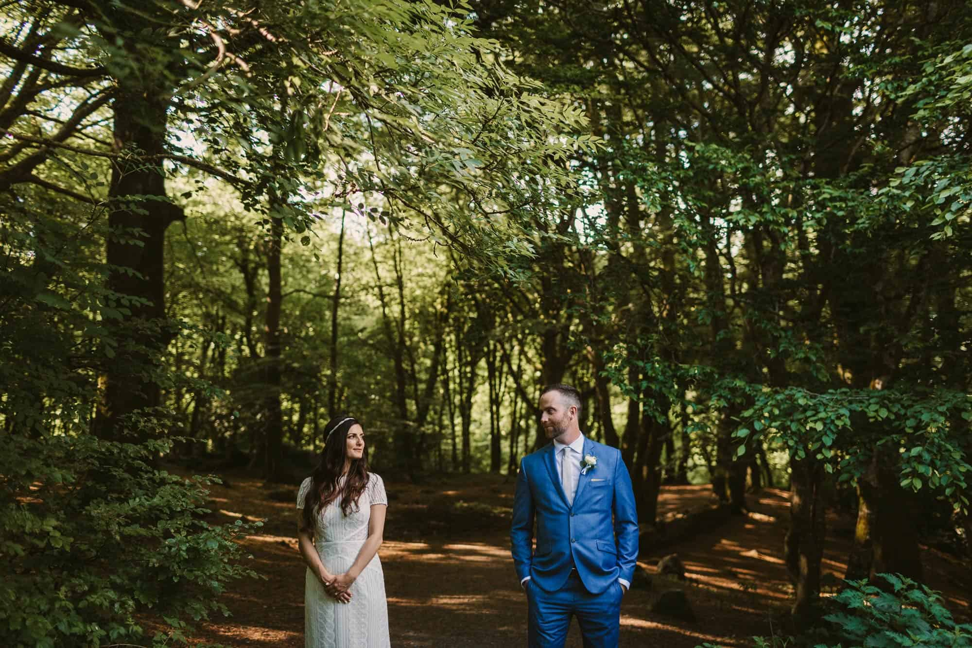 Elopement videographer Ireland, couple shot in foest