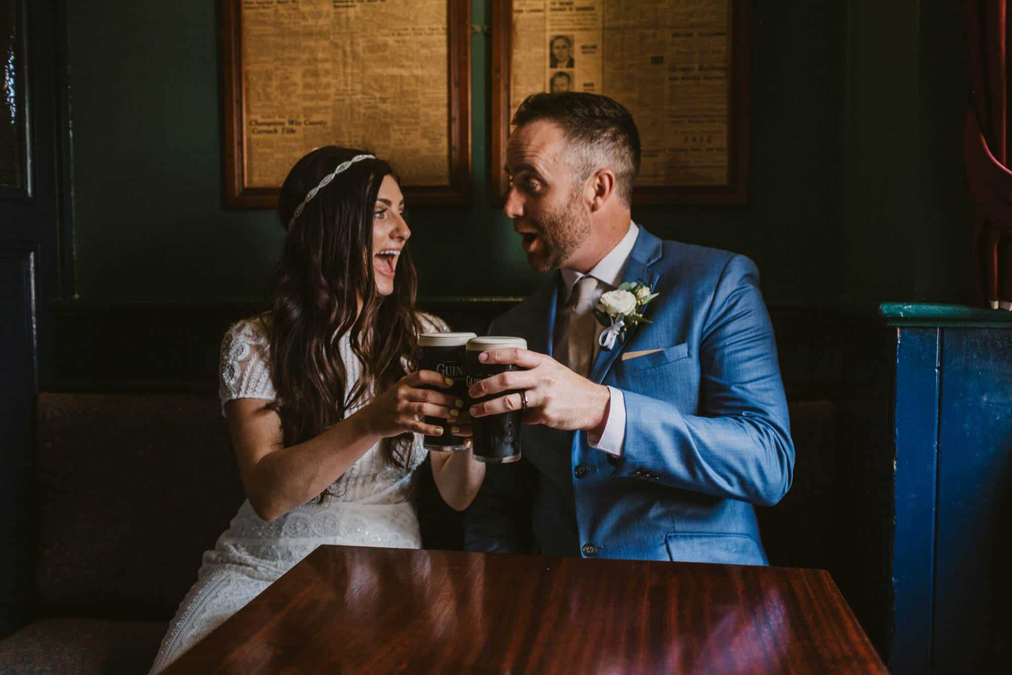 Elopement videographer Ireland, couple in irish pub