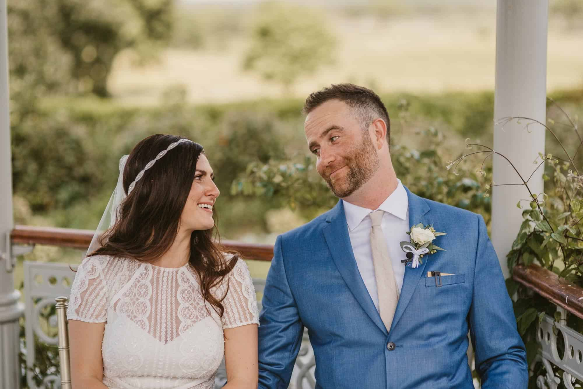 Elopement videographer Ireland, couple smiling at each other
