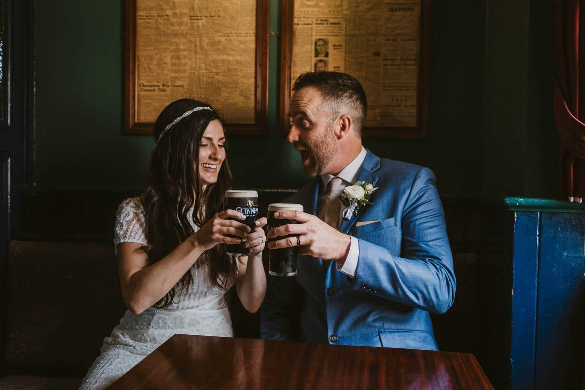 Elopement videographer Ireland, more guinness and laughing