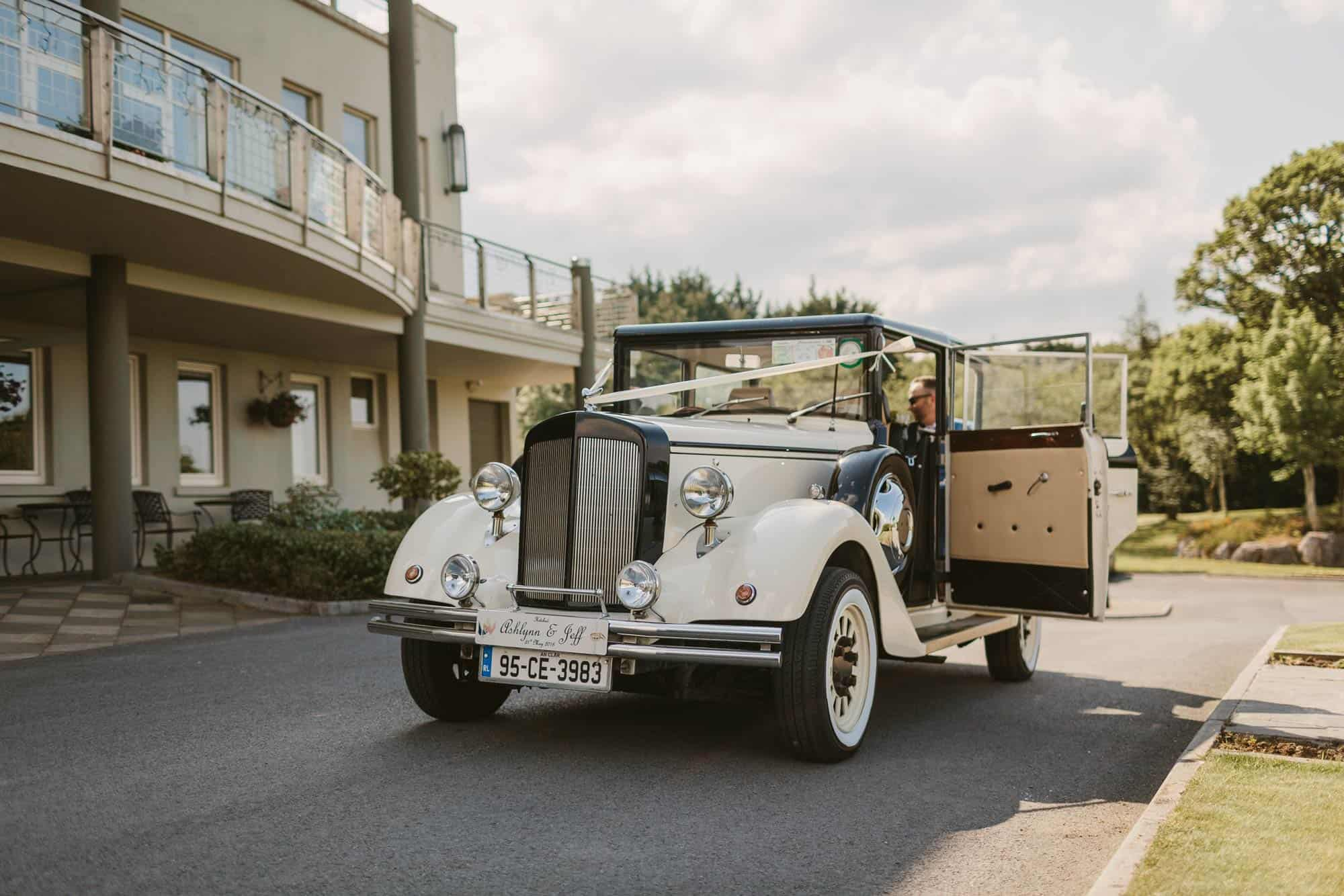 Elopement videographer Ireland, vintage car