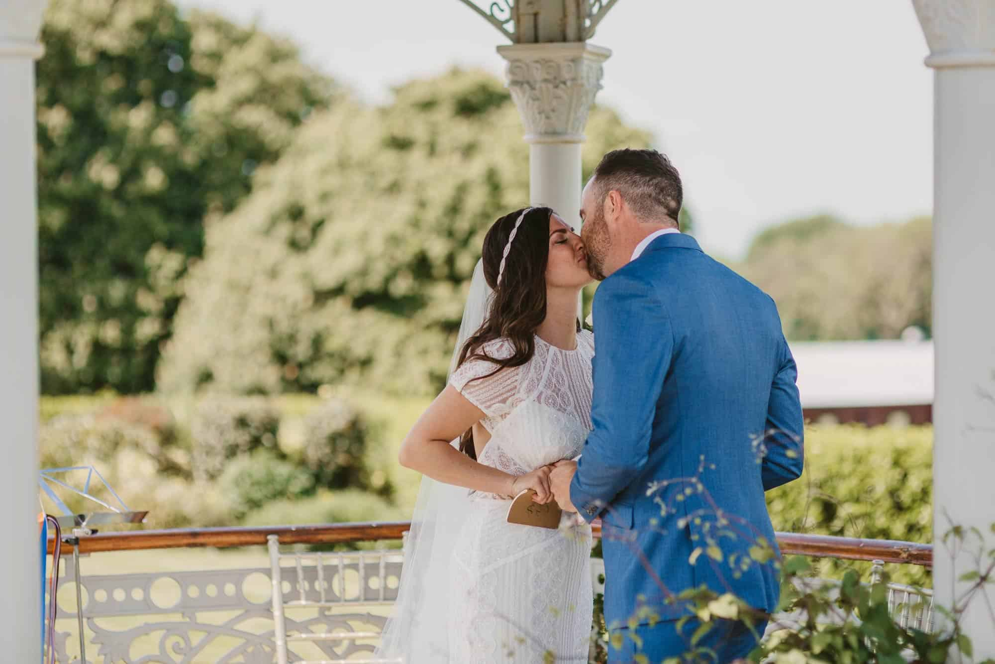 Elopement videographer Ireland, couple kiss , married