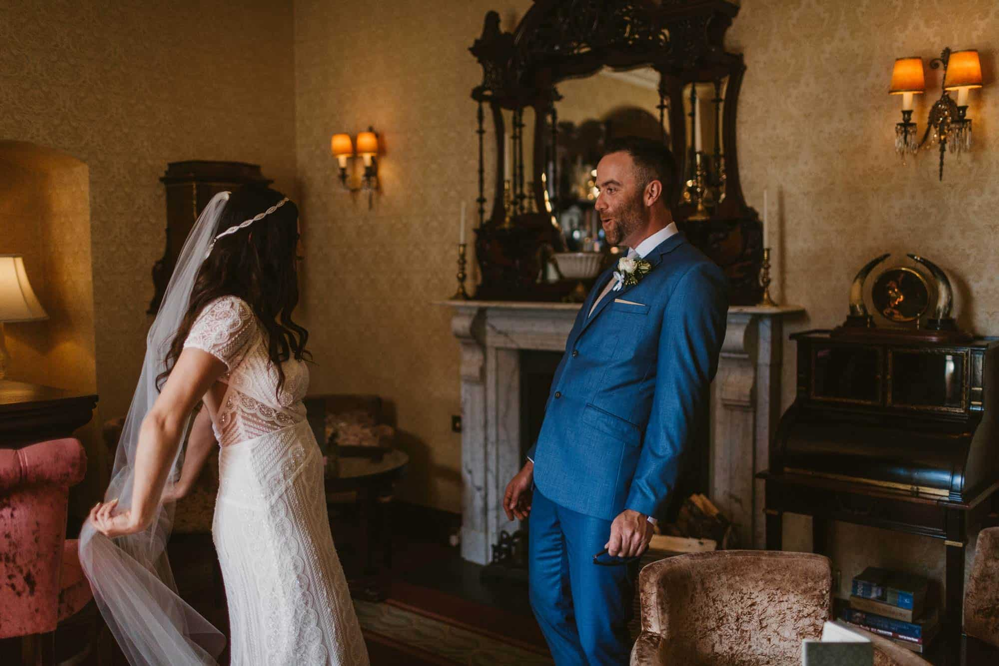 Elopement videographer Ireland, First look in Glenlo abbey