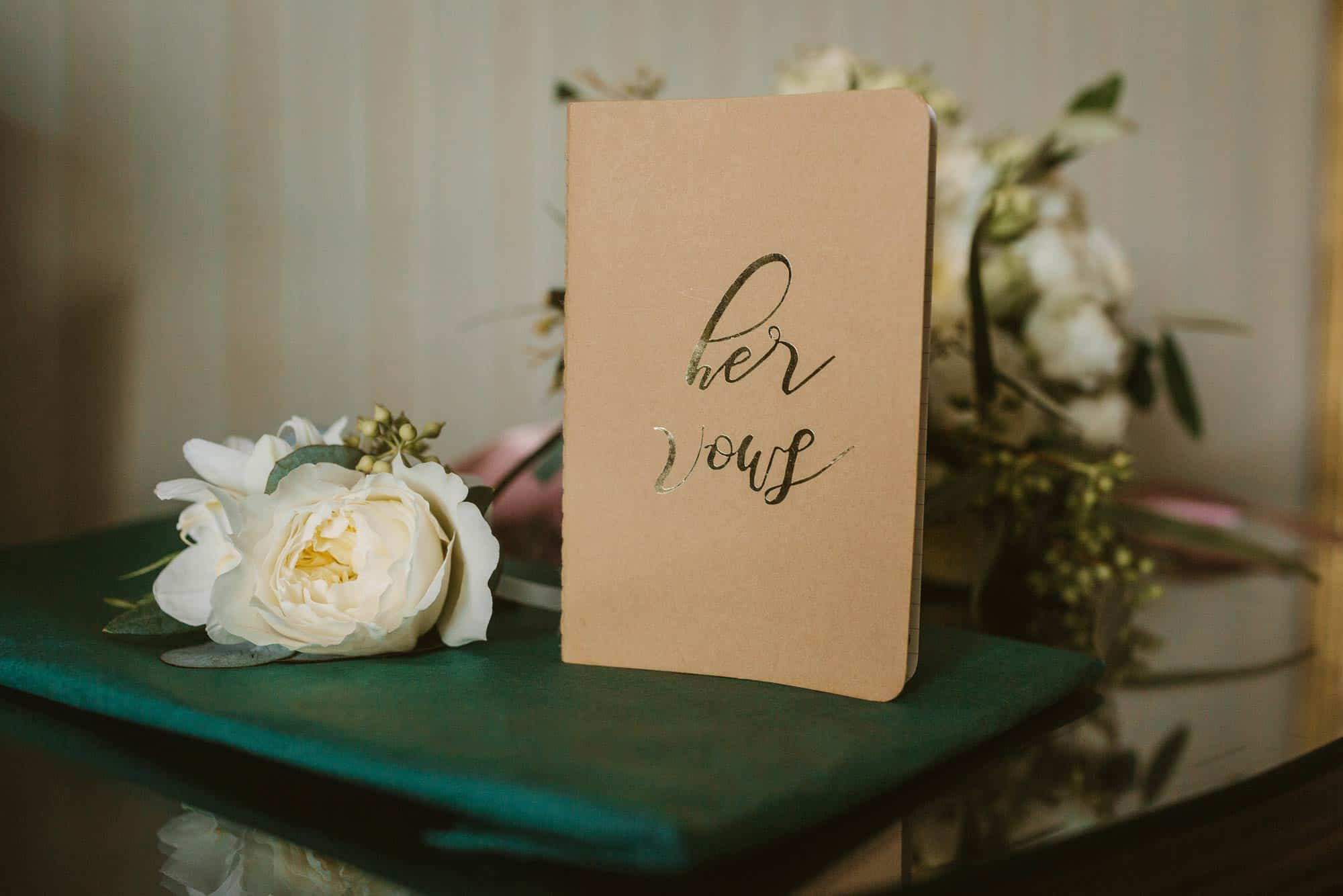 Elopement videographer Ireland , her vows book
