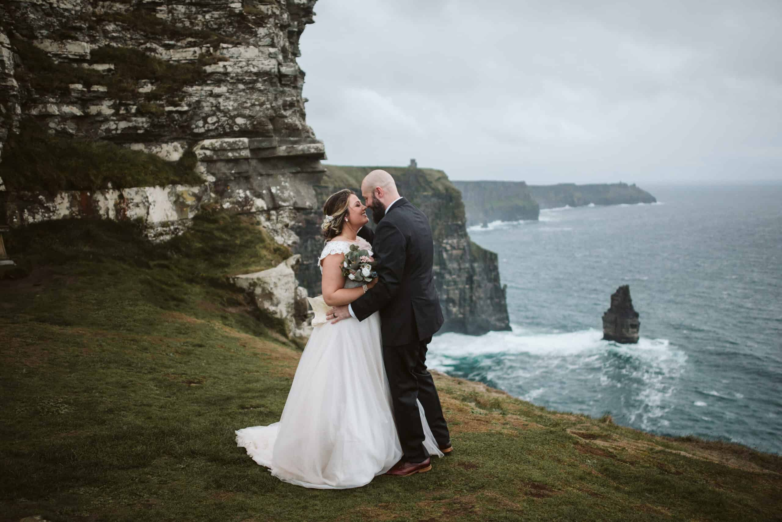 Cliffs of Moher Wedding Hags head, couple shot on the cliffs