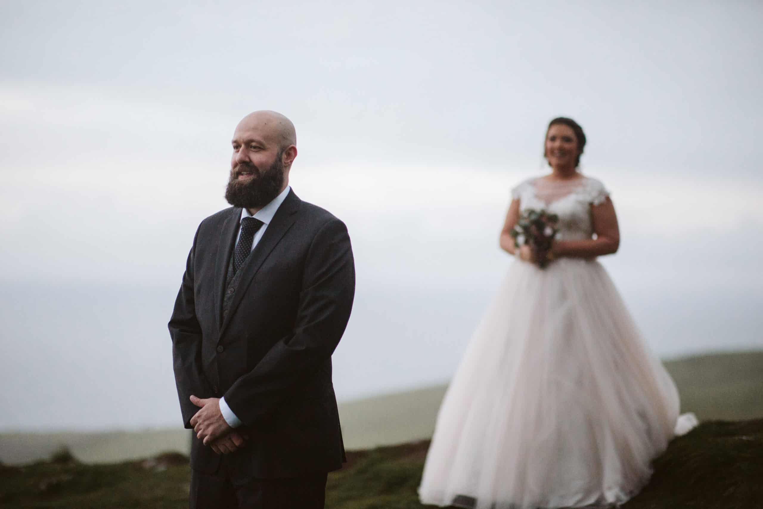 Cliffs of Moher Wedding Hags head, groom is waiting for bride