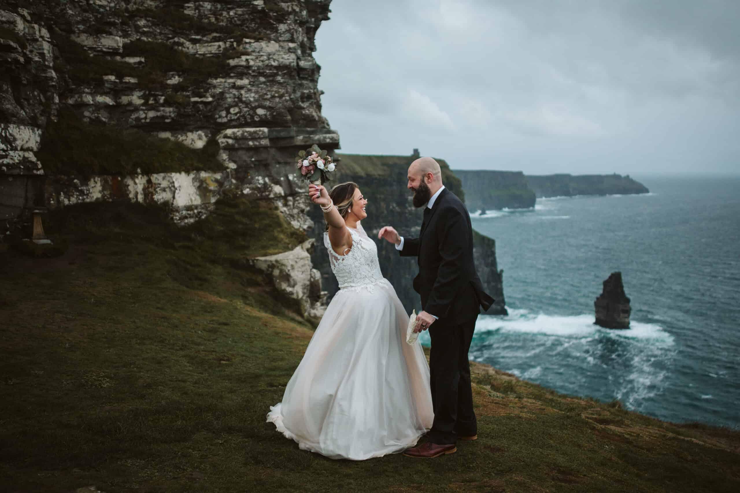 Cliffs of Moher Wedding Hags head, bride and groom cheer