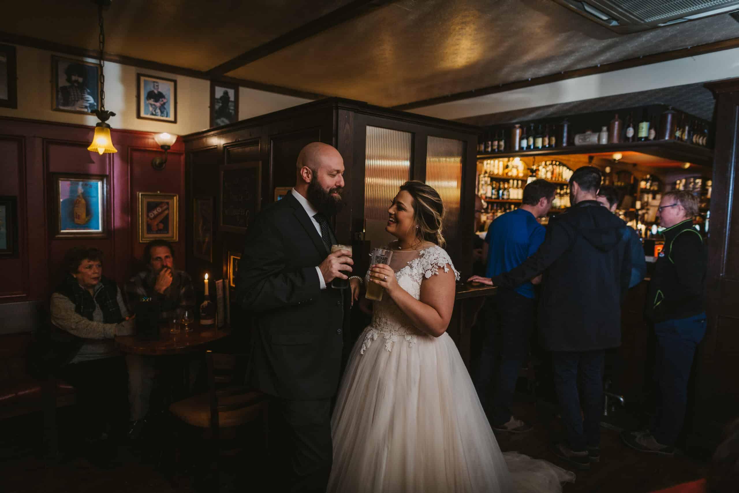 Cliffs of Moher Wedding Hags head, couple having a drink in irish pub