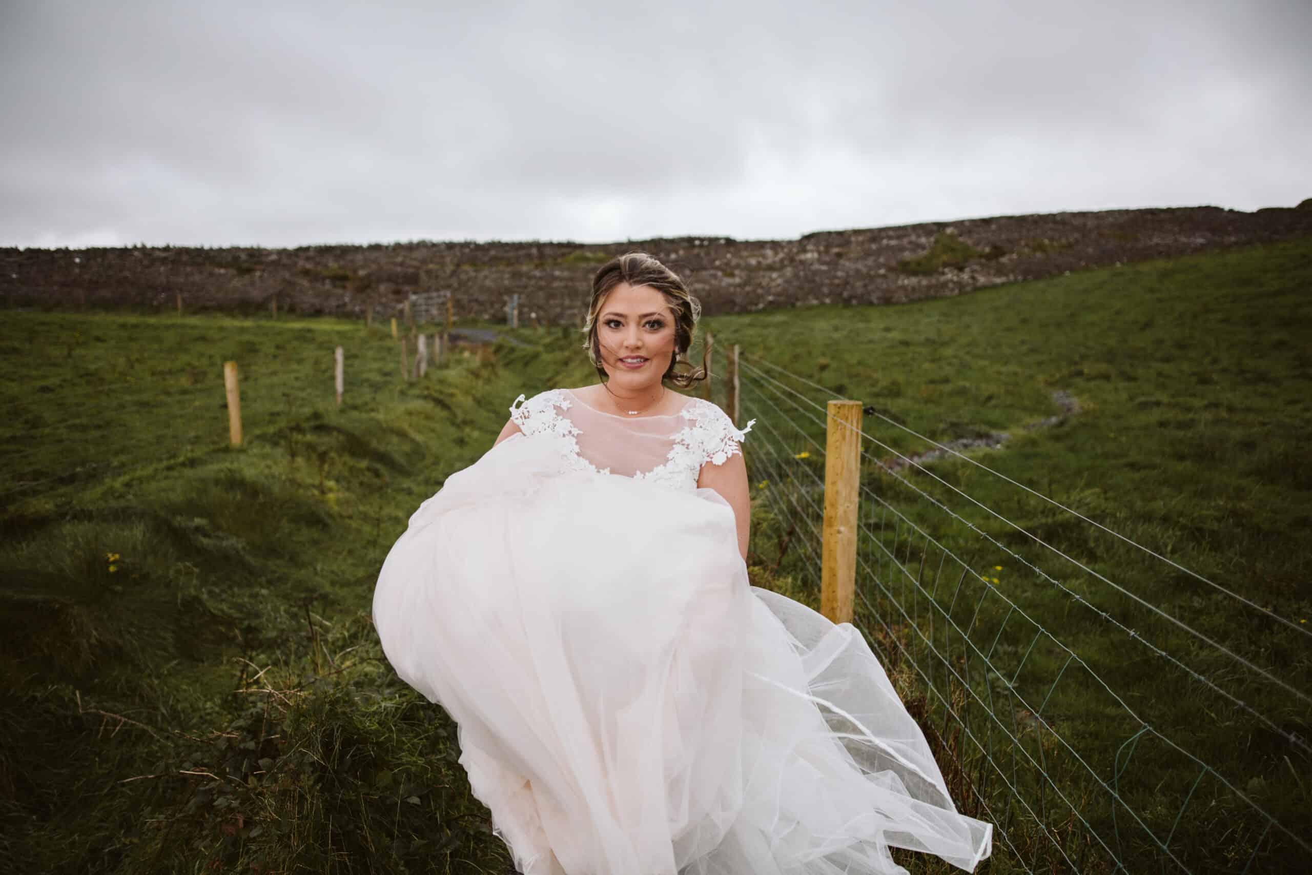 Cliffs of Moher Wedding Hags head, bride walking towards the cliffs