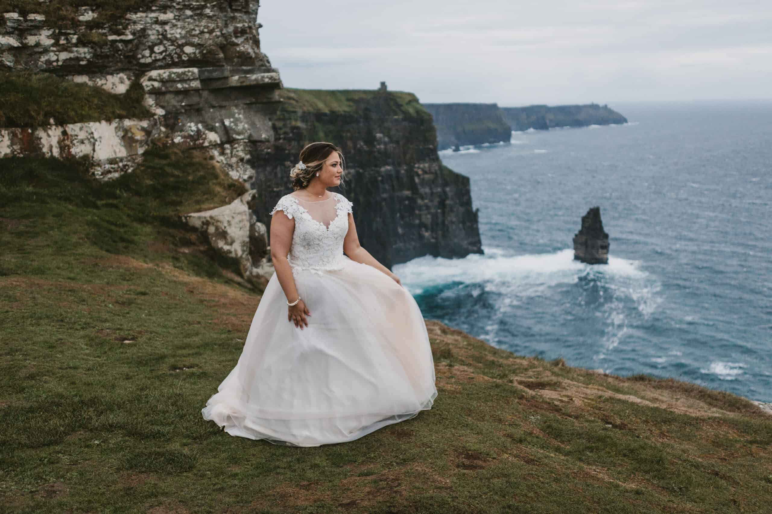 Cliffs of Moher Wedding Hags head, bride on the cliffs