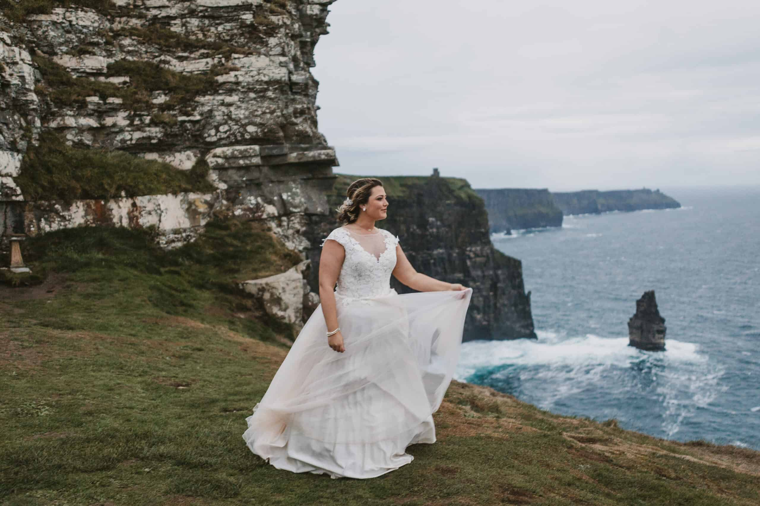 Cliffs of Moher Wedding Hags head, bride looks like a queen on the cliffs