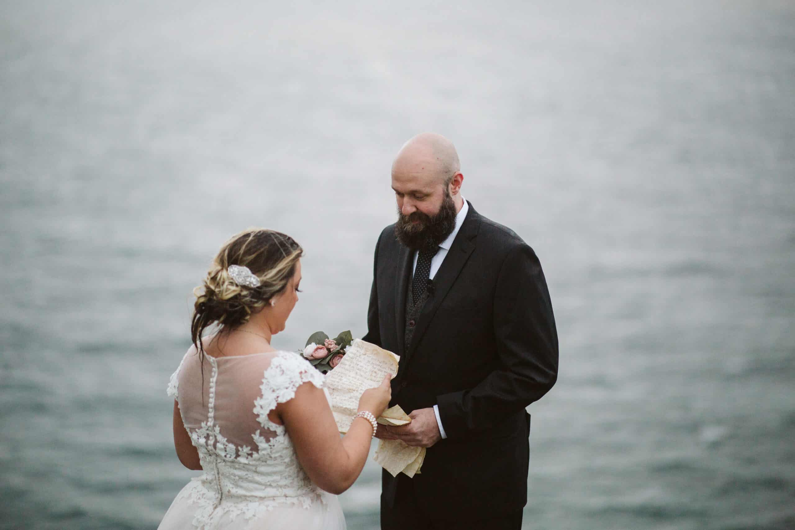 Cliffs of Moher Wedding Hags head, bride reading her vows