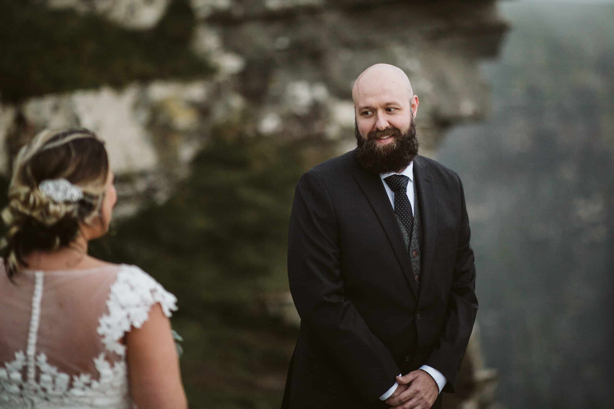 Cliffs of Moher Wedding Hags head, groom sees bride for the first time in dress