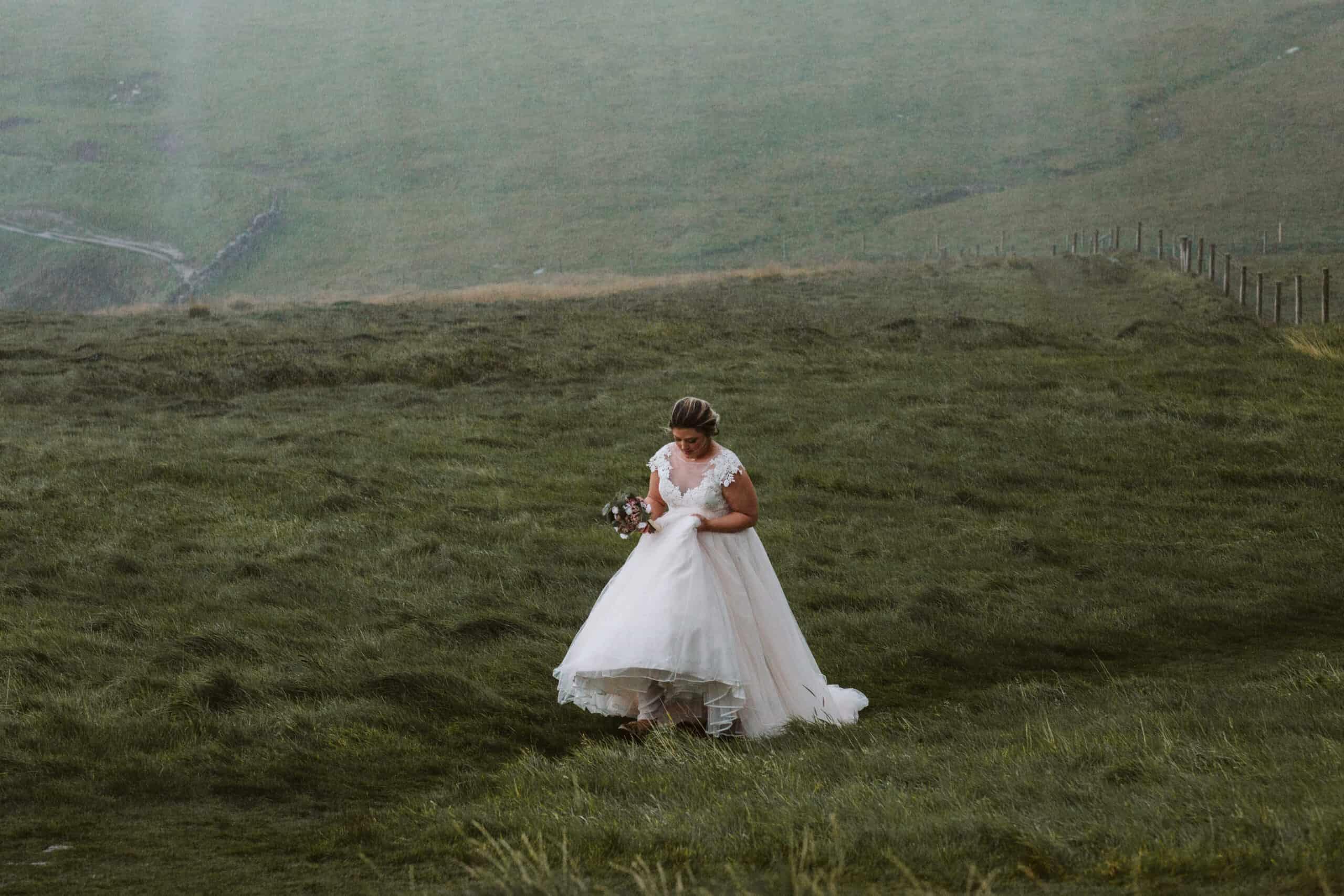 Cliffs of Moher Wedding Hags head, bride in the rain