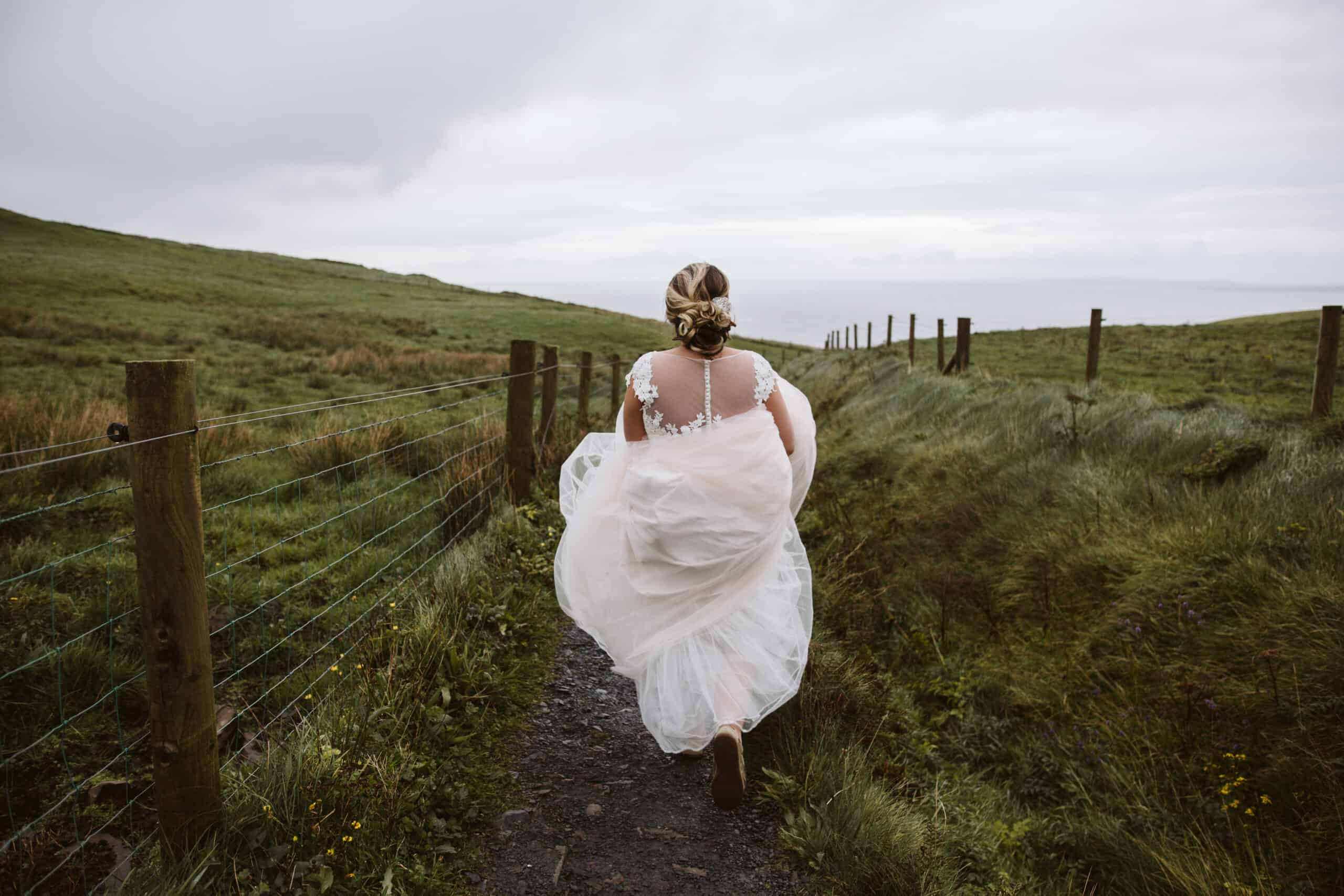 Cliffs of Moher Wedding Hags head, back of brides dress
