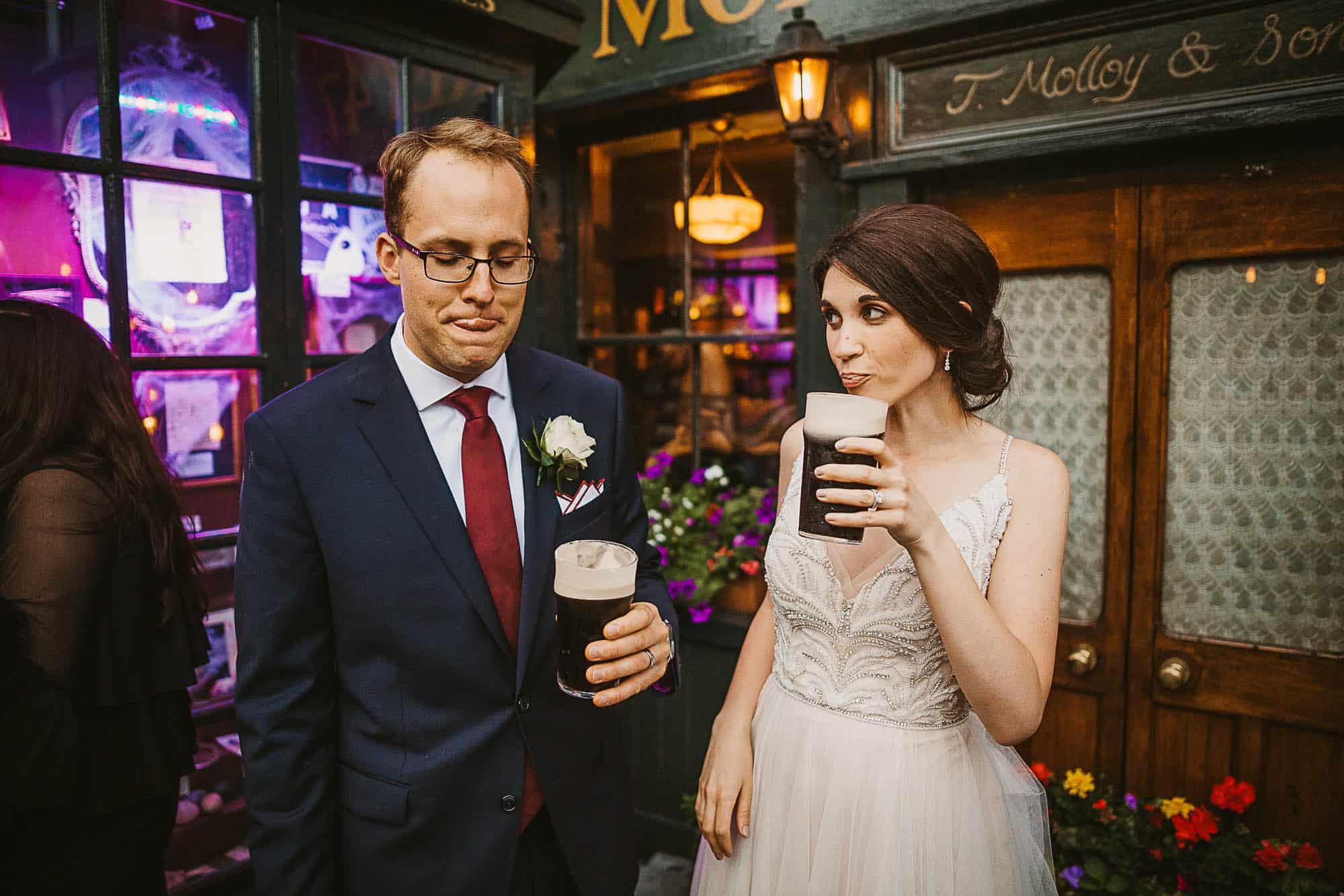 Galway city pub elopement, Destination Wedding in Ireland