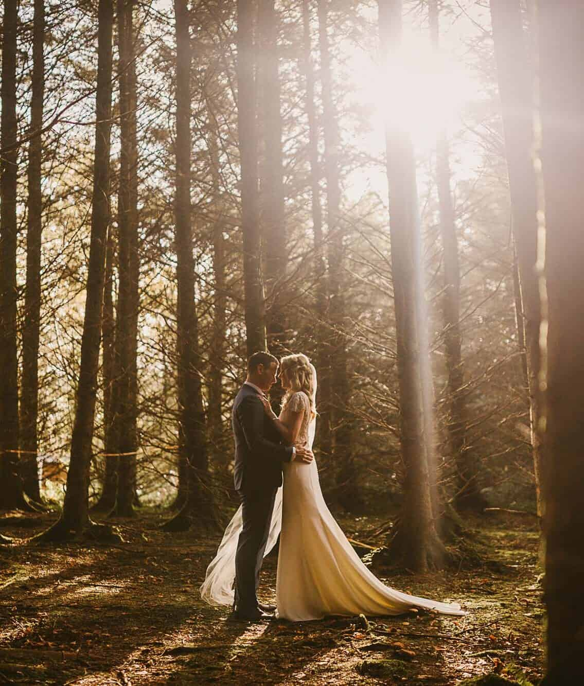 Love and light in Ireland, Elope to wild Atlantic way, forest elopement on an Ireland destination wedding