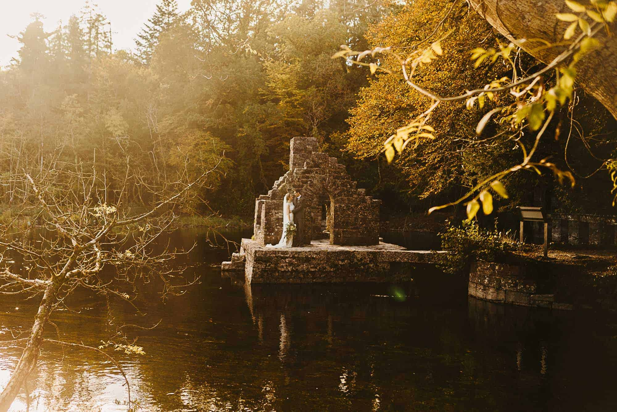 elopement-planner-galway-castle ruins on lake